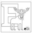 Elk letter E coloring page vector image