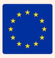 european union square flag button social media vector image