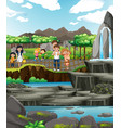 family visiting zoo at day time vector image vector image