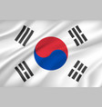flag of south korea background with cloth texture vector image