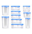 food containers realistic icon set vector image vector image