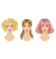 Hairstyles set blonde pink brown woman vector image vector image