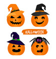 halloween pumpkins isolated on white vector image vector image