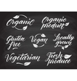 Hand drawn healthy food letterings stylized with vector image vector image
