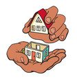 hands are building a small house symbol of vector image