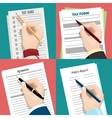 Hands with pen over the paper vector image