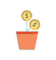 investment concept money plant glow icon vector image vector image