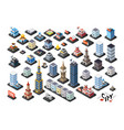 isometric projection of 3d buildings vector image