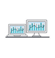 laptop with statistics bars and desktop vector image vector image