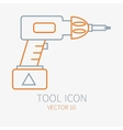 Line working color electric screwdriver vector image