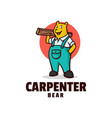 logo carpenter bear mascot cartoon style