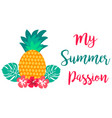 my summer passion card with juicy pineapple vector image vector image