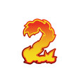 number 2 fire flames font two tattoo alphabet vector image vector image