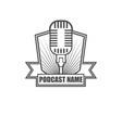 podcast badge logo design vector image vector image