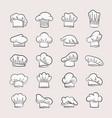professional chefs hats set headgear contours for vector image