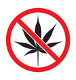 prohibition sign no cannabis vector image