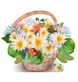 realistic floral chamomile bouquet in a basket vector image vector image