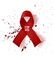 Realistic red AIDS Day Ribbon and Blood Drops vector image