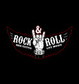rock and roll festival rocker sign and wings vector image vector image