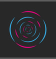 round waves sound dj logo acid neon colored vector image