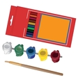 School paint kit for artist with paints and vector image