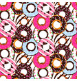 seamless pattern with glazed donuts sweet vector image vector image