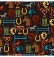Seamless pattern with horse equipment in flat vector image vector image