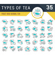 set line icons types tea vector image vector image