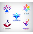 set logos creative team creative mind vector image