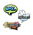 set of bright speech bubbles colorful emotional vector image vector image