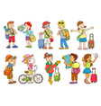 set of travel cartoon character vector image