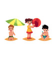 three babies kids boys and girl playing on vector image