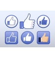 Thumb up like icons set social network vector image vector image
