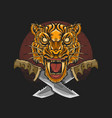tiger head machete grunge background vector image vector image