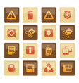 web site and computer icons over brown background vector image vector image