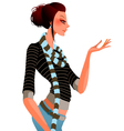 young woman holds hand up vector image vector image