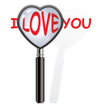 magnifying glass over i love you words vector image