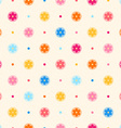 Retro seamless pattern Color flowers and dots vector image