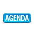 Agenda blue 3d realistic square isolated button vector image