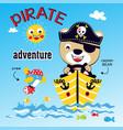 bear pirat animal cartoon vector image