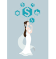 bride thinking about wedding price vector image vector image
