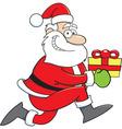 Cartoon Santa Claus running with a gift vector image