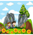 children at the waterfall vector image vector image
