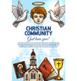 christian catholic church bible angel and icon vector image