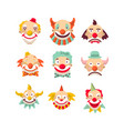 clown faces isolated icons set vector image vector image