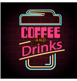 coffee and drinks coffee cup neon background vector image vector image