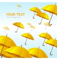 colorful yellow umbrellas flying high vector image vector image