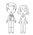 Coloring book cartoon doctor and nurse