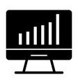 computer chart solid icon computer with graph vector image vector image
