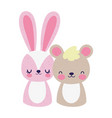 cute little rabbit and bear cartoon design vector image vector image